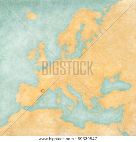 Map Of Europe - Andorra (vintage Series)
