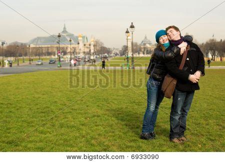 Happy Romantic Couple In Paris At The Esplanade Des Invalides