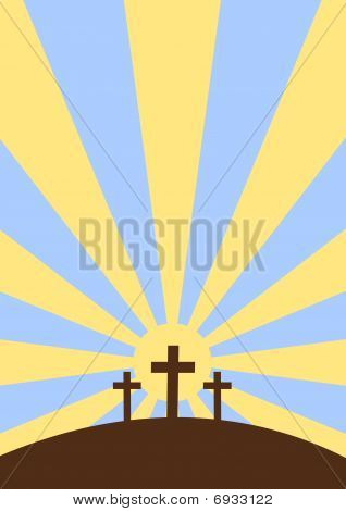 Three crosses with sunset background