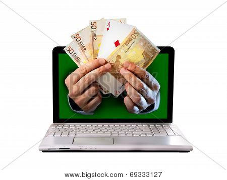 Man Hands Comming Outlaptop Holding Euro Banknotes And Ace Poker Playing Cards