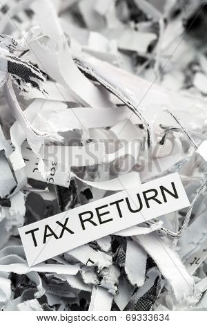 shredded paper tagged with tax return, symbol photo for data destruction, data protection and tax law