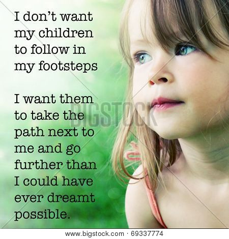 Adorable little girl with quote