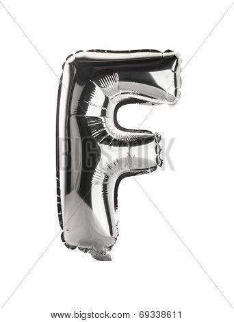Chrome silver balloon font part of full set upper case letters, F