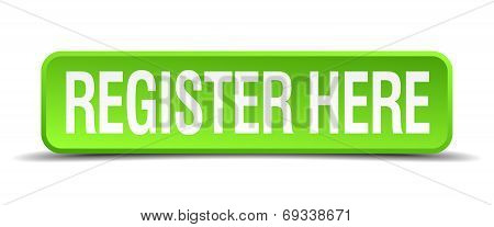 Register Here Green 3D Realistic Square Isolated Button