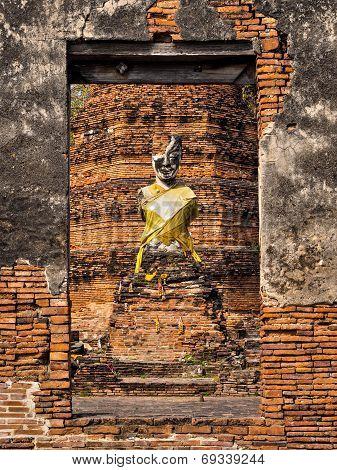Ancient Buddha Statue At Ruined Temple, Ayutthaya, Thailand