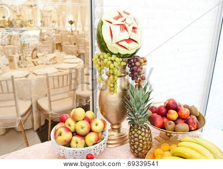 Fruits arrangement. Fresh various fruits elegant decoration. Assortment of exotic fruits