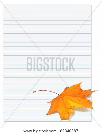 Notebook Paper With Autumn Maple Leaf On White