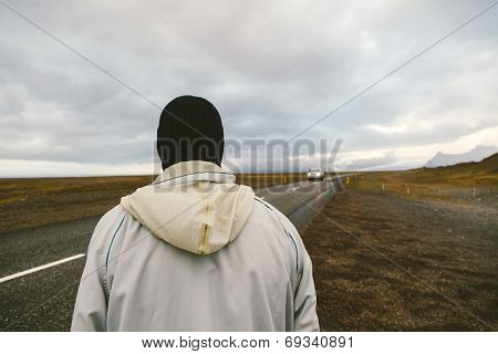 The Man With No Face Hitch-hiking