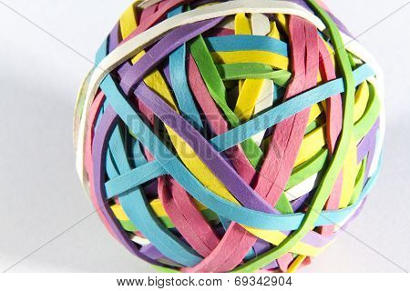 Colored Rubber Elastic Band Ball. Macro.