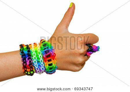 Thumbs Up For Colorful Rubber Bands Bracelet