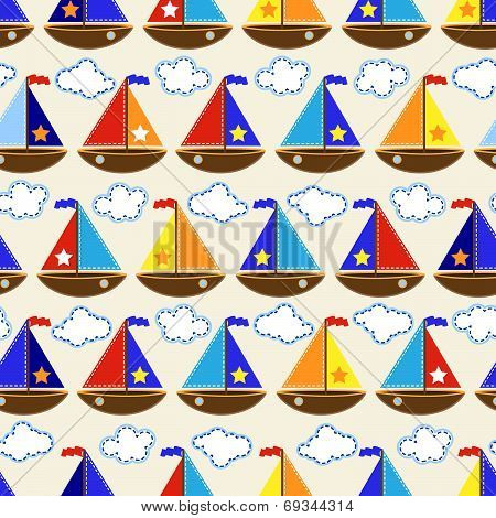 Seamless Tileable Nautical Themed Vector Background
