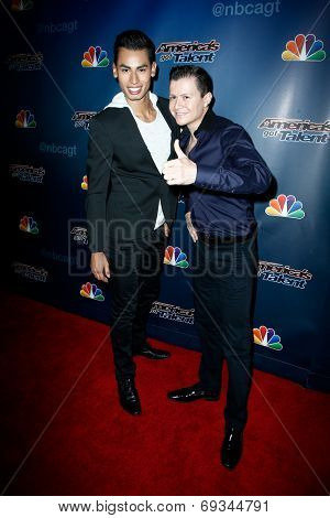 NEW YORK-JUL 30: Salsa dancers John Narvaez and Andrew Cervantes attend the 'America's Got Talent' post show red carpet at Radio City Music Hall on July 30, 2014 in New York City.