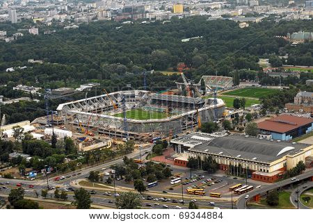 Stadium Legia football club construction in progress. Aerial view from 05.08.2009. Editorial image. Warsaw, Poland