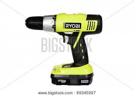 Hayward, CA - July 30, 2014: Ryobi electric battery powered drill with Lithium battery