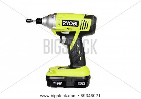Hayward, CA - July 30, 2014:  Ryobi electric battery powered impact wrench with Lithium battery