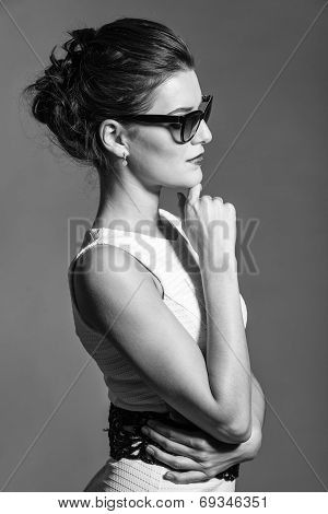 Bw Portrait Of Brunette Beautiful Girl Posing In White Dress