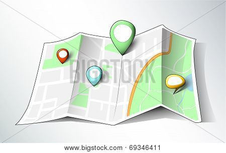 Cartoon style map with pins