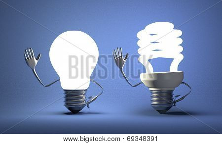 Tungsten Light Bulb Character Waving Hand And Fluorescent One