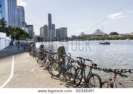 Brisbane Cityscape and riverwalk Gardens Point