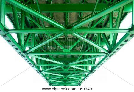 Girders Under The Mackinac Bridge In Michigan