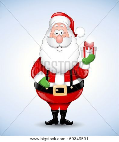 Happy cartoon Santa Claus holding a gift eps 10