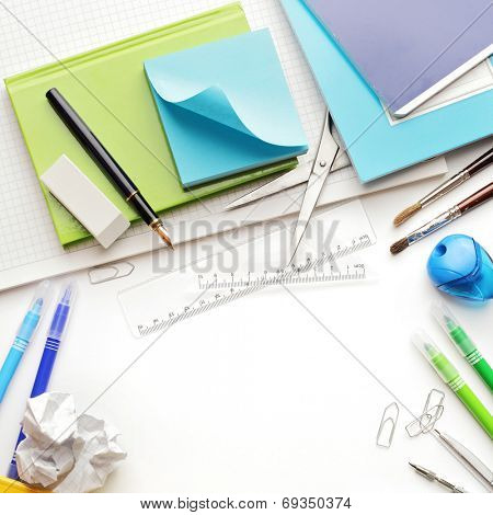 Back to school supplies. Isolated on white background. copy space