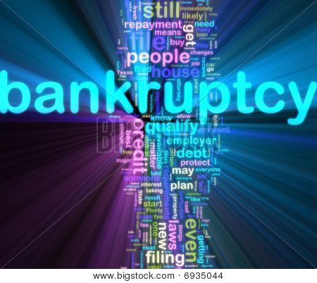Bankuptcy Wordcloud Glowing