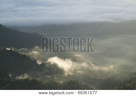 Morning Clouds Over Villages And Forests