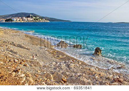 Idyllic Beach And Town Of Primosten