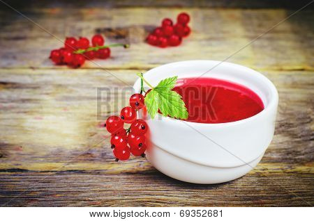 Red Currants Jam In The White Bowl