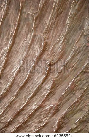 Bronze surface with furrows sunlit