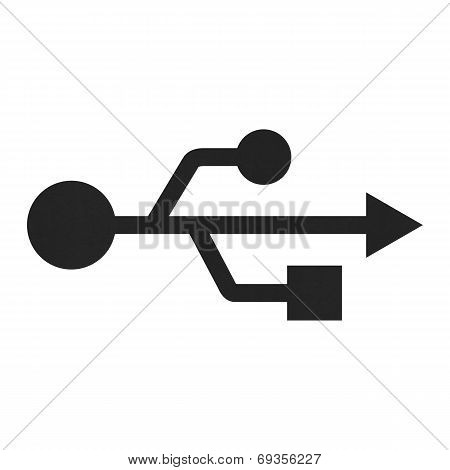 Usb Icon Symbol In Computer Of Paper Illustration