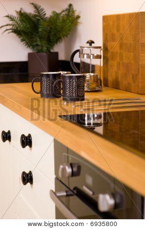 Coffee Mugs In Modern Designer Kitchen