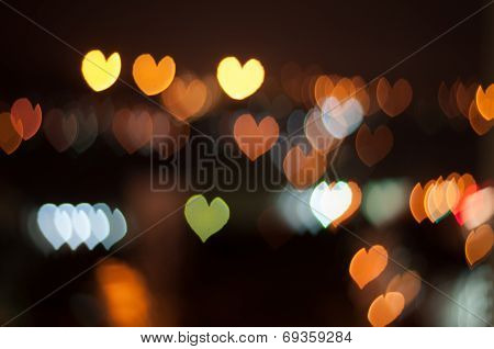 Love or heart shape bokeh background of Kuala Lumpur