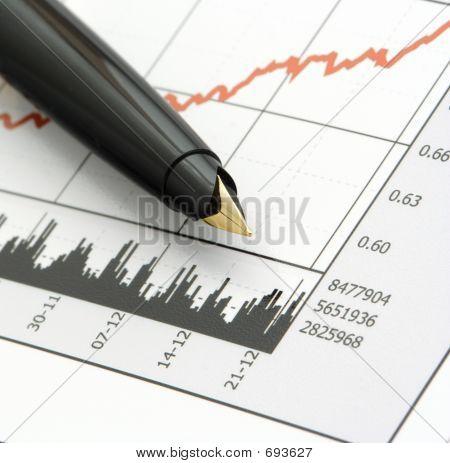 Stift auf Aktienkurs-Diagramm
