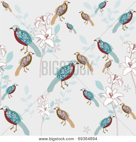 bird with flower seamless background