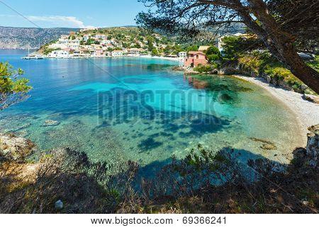 Summer View Of Assos Village (greece,  Kefalonia).