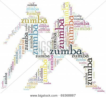 Word Cloud Illustration Zumba Dance Related