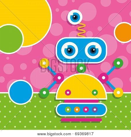 cute robot greeting card