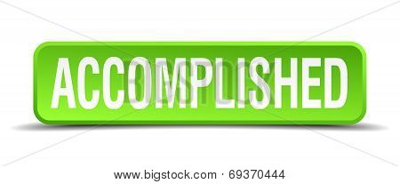 Accomplished Green 3D Realistic Square Isolated Button