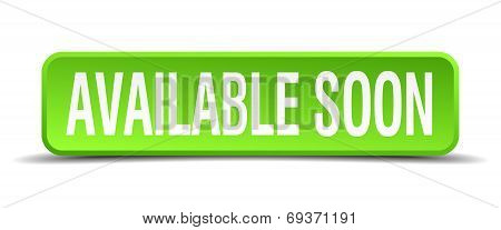 Available Soon Green 3D Realistic Square Isolated Button