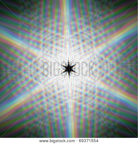 Mystic shiny star with with optical aberrations