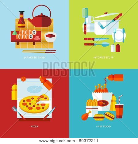 Set of flat design concept icons for food and tableware.