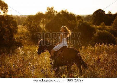 Girl On A Horse Of High Grass