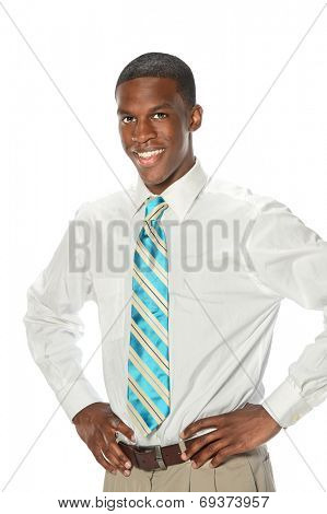 African American businessman with hands on hips isolated over white background