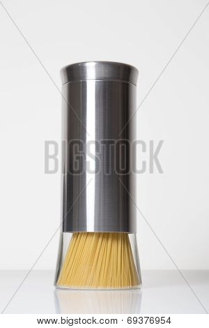 Modern chrome pasta recipient isolated