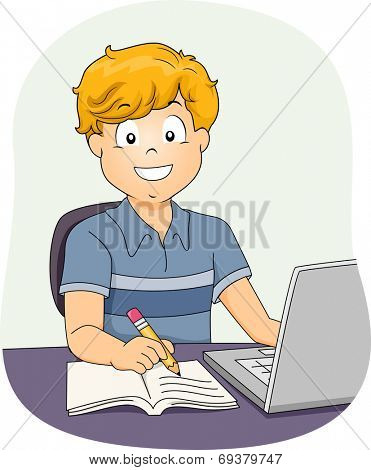Illustration Featuring a Little Boy Using His Laptop While Working on His Assignment