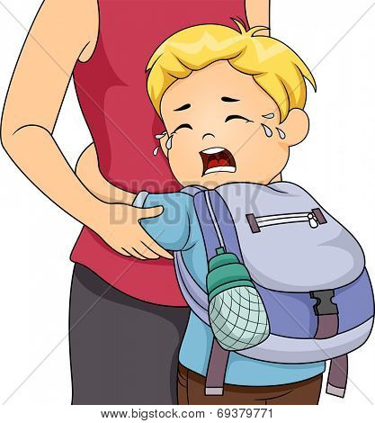 Illustration of a Little Boy Crying Out Loud Whie Clinging to His Mom