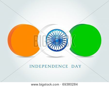 Stylish 3D icons in Indian tricolors and Asoka Wheel on grey background for 15th of August, Independence Day celebrations.