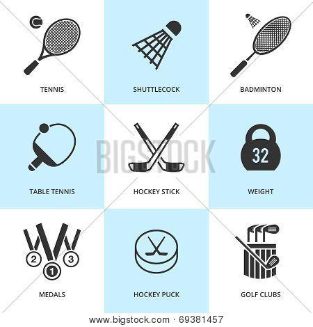 Set of black sports icons.